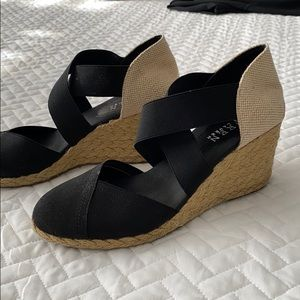 Ralph Lauren black elastic strapped sandals